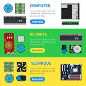 Cartoon Pc Components Banner Horizontal Set Technology Concept Flat Design Style Include Of Monitor, poster