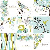 foto of greeting card design  - Set of cute floral greeting cards - JPG