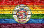 Brick Wall Minnesota And Gay Flags - Illustration, Rainbow Flag On Brick Textured Background,  Abstr poster