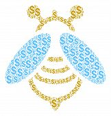 Bee Collage Of Dollar Symbols. Vector Dollar Icons Are Organized Into Bee Collage. poster