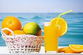 Fresh Orange Juice, Orange Slices And Oranges In Basket Against Background Of Surface Blue Sea. Summ poster