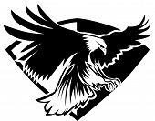 stock photo of eagle  - Graphic Mascot Image of a Flying Eagle over a badge template - JPG