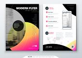 Flyer Template Layout Design. Business Flyer, Brochure, Magazine Or Flyer Mockup In Bright Colors Wi poster