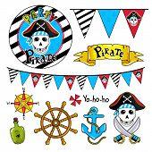 Pirate Party Elements For Birthday, Steering Wheel, Sword, Flags, Bottle And Other Pirate Symbols. poster