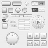Interface Buttons Set. Push Buttons, Media Buttons, Switch. Vector 3d Illustration poster