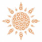 Sun Collage Of Gear Icons. Vector Gear Wheel Pictograms Are Combined Into Sun Collage. poster