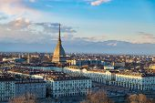 Turin Skyline At Sunset. Torino, Italy, Panorama Cityscape With The Mole Antonelliana Over The City. poster