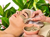 Mud facial mask of woman in spa salon. Massage with clay full face in therapy room. Removing wrinkle poster