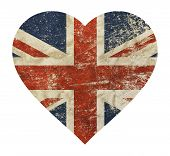 Heart Shaped Old Grunge Vintage Dirty Faded Shabby Distressed Uk Great Britain National Flag Isolate poster