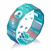 Isometric Stylized Smart Watch. Smart Web Interface With Different Apps And Icons For Smartwatch Or  poster