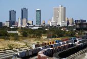 picture of railroad yard  - Train yard showing Fort Worth - JPG