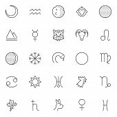 Постер, плакат: Astrology Outline Icons Set Linear Style Symbols Collection Line Signs Pack Vector Graphics Set
