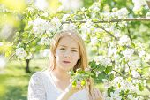 Teenager Stands Near An Apple Tree In A Blooming Apple Orchard On A Spring Sunny Day poster