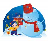 stock photo of debonair  - A little girl and a snowman with Christmas tree ball - JPG