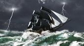 foto of tall ship  - Tall ship sailing in heavy seas in a lightning storm - JPG