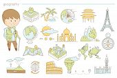 Hand Drawn Icons Of Landscape, Maps And Famous Landmarks. Learning Different Cultures And Countries  poster