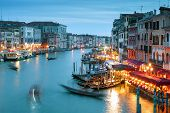 Grand Canal, Shot With A Long Exposure, Venice At Night, Italy. Venice Nightlife. Beautiful Panorami poster