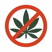 Marijuana Leaf With Forbidden Sign - No Drug. No To Marijuana. Cannabis Leaf Icon In Prohibition Red poster