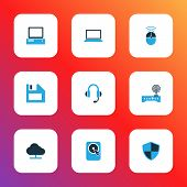 Hardware Icons Colored Set With Online Cloud, Headphones, Wifi And Other Control Elements. Isolated  poster