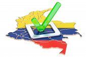 Colombian Election Concept, Vote In Colombia, 3d Rendering Isolated On White Background poster