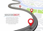 Navigation Concept With Pin Pointer Illustration. Cartography Mapping, Ui Pinning, Discovery, Geotag poster