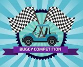 Buggy Rally Competition Banner With Checkered Flag Illustration. Outdoor Auto Ride, Extreme Terrain  poster