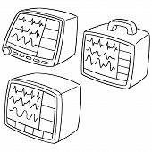Vector Set Of Vital Sign Monitor Hand Drawn Cartoon poster