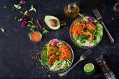 Vegan Buddha Bowl Dinner Food Table. Healthy Food. Healthy Vegan Lunch Bowl. Fritter With Lentils An poster