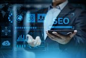 Seo Search Engine Optimization Marketing Ranking Traffic Website Internet Business Technology Concep poster