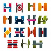 Постер, плакат: H Letter Icons Template For Corporate Or Business Company And Brand Name Emblem Vector Letter H Set