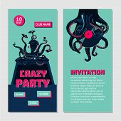 Octopus Dj With Turntable. Dance Party Invitation For Nightclub With Vinyl Record. Hip-hop Music Bat poster