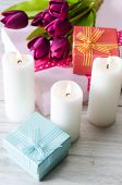 Giftbox arranged on the table in saint valentine holiday concept poster
