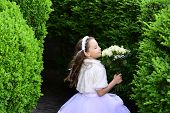 Girl Child In Green Summer Park, Spring. Wedding Fashion, Beauty Salon. Bride Girl, Bridesmaid And W poster