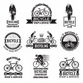 Labels Set For Bicycle Club. Velo Sport Logos Design. Sport Bicycle Sport, Speed And Mountain Biker. poster
