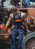 Tired Worker Concept. Muscular Builder On Sunny Day. Sexy Man With Nude Torso Rest Near Construction poster