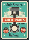 Vector Poster Car Service. Auto Service Design Banner. Auto Parts And Garage Concept. Vintage Design poster