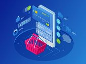 Isometric Smart Phone Online Shopping Concept. Online Store, Shopping Cart Icon. Ecommerce. Vector I poster
