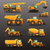 Construction Equipment - Isolated Vector Illustrations Set. Construction Machinery. poster