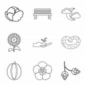Strict Vegan Icons Set. Outline Set Of 9 Strict Vegan Vector Icons For Web Isolated On White Backgro poster