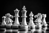 Постер, плакат: Strategy Chess Battle Intelligence Challenge Game On Chessboard Success The Chess Strategy Concept