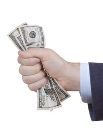 pic of holding money  - A businessman holding money against white background - JPG