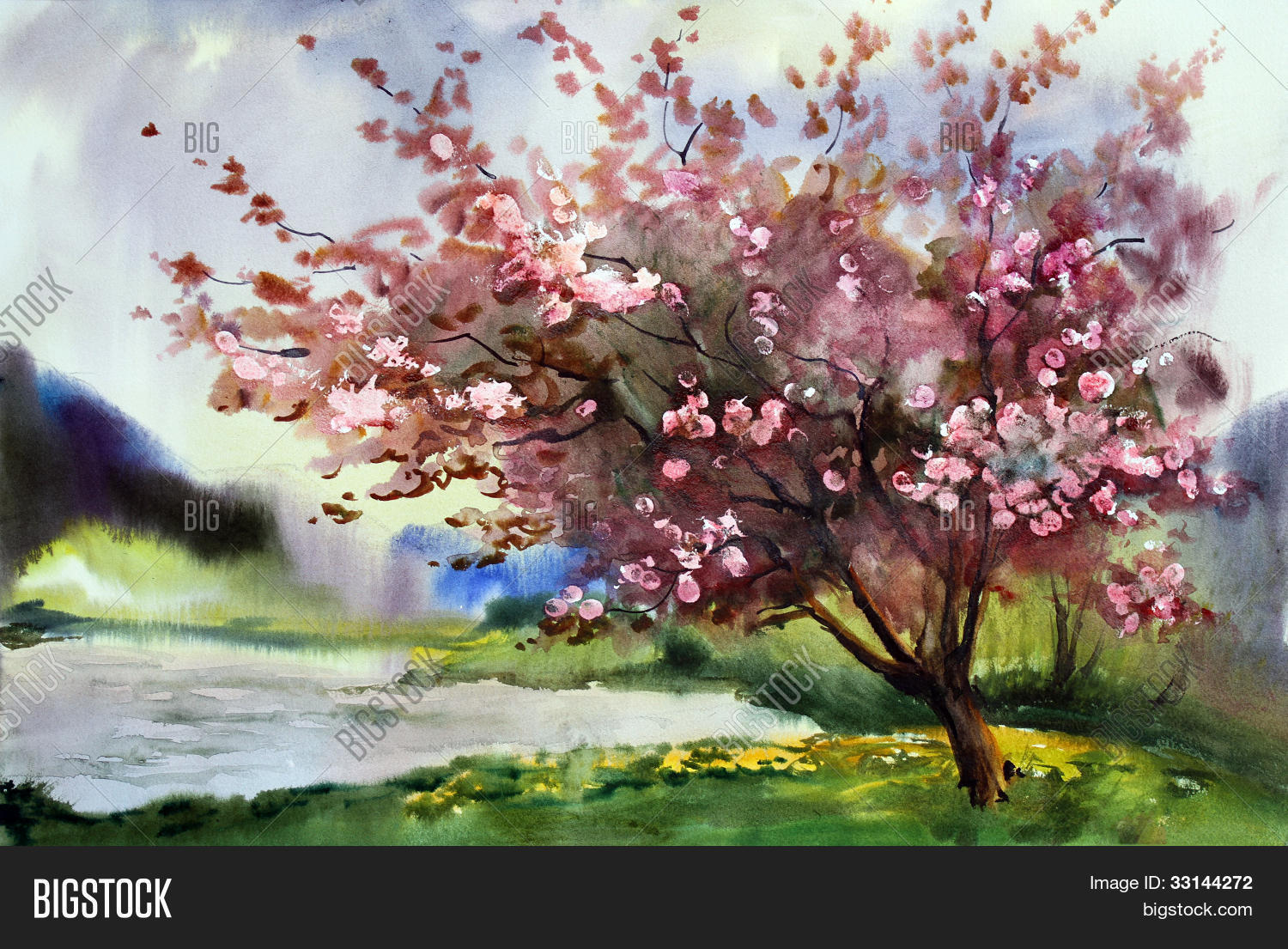 Watercolor Painting Landscape With Blooming Spring Tree ...