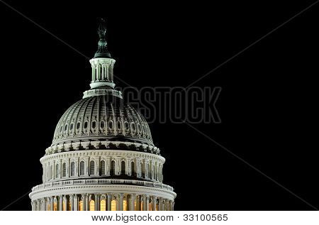 Capitol Building dome detail at night - Washington DC United States