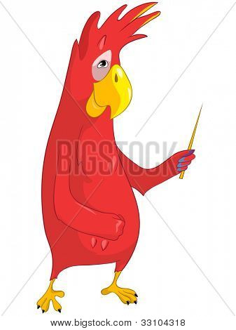 Cartoon Character Showing Funny Parrot Isolated on White Background. Vector EPS 10.