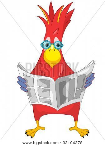 Cartoon Character Funny Parrot Isolated on White Background. News. Vector EPS 10.