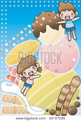 Happy Sommerferien genießen Sie süß und lecker Eis Snack mit niedlichen kleinen Freunde auf blauem Hintergrund