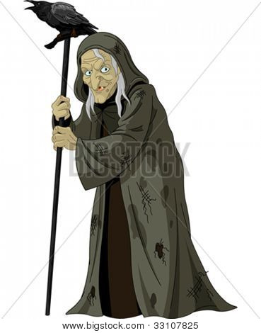 Illustration of old Witch with  raven