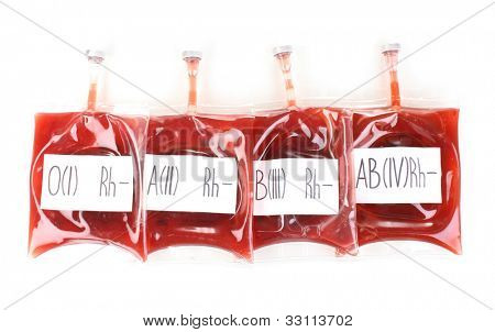 Bags of blood isolated on white