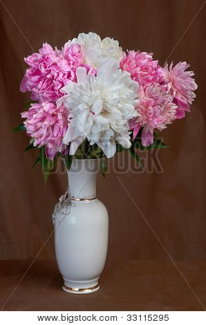 Bouquet From Pink And White Peonies In A Vase