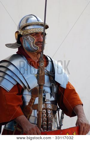 Jordanian men dressed as Roman soldiesr